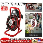 Sewer Snake Drill Drain Auger Cleaner 75and039x1/2and039and039 Electric Drain Cleaning Machine