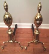 Harvin Brass Andirons Raleigh's Tavern Williamsburg Reproduction Cw100-2 Vmc