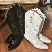 80s Vintage Nine West White Leather Silver Gold Star Womenandrsquos Cowboy Boots 8.5