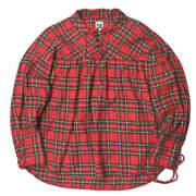 Aie America String Shirt - Tartan Check Xs Red Gathered Pullover Flannel Tops