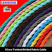 Vintage Style Fabric Cable Flex 3 Core Braided Italian Lamp Twisted Wire Ledsone