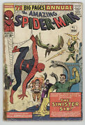 Amazing Spider-man Annual 1 Marvel 1964 Gd Vg 1st Sinister Six Doctor Octopus
