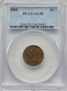 1888 Us Indian Head Penny Cent Coin 1c Pcgs Au50 - Full Liberty