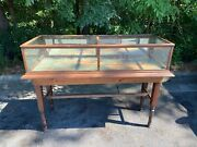Antique General Store Oak And Glass Mirrored Display Case Cabinet Showcase 70