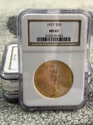 1927 20 Gold St. Gaudens American Double Eagle Ngc Ms65