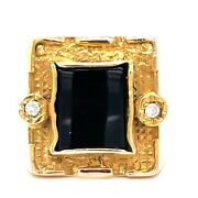 Large Onyx And Diamond Gentlemans Statement Ring 14ct Yellow Gold