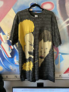 Beavis And Butthead 90s Original All Over Print Vintage T-shirt Xlarge