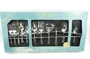 104 Piece Set Towle Stockton 18/10 Stainless Steel Flatware Outlined Edge - Nos
