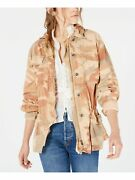 Free People Womens Brown Pocketed Animal Print Top Coat Jacket Size S