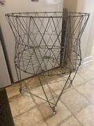 2 Vintage Farmhouse Metal Wire Collapsible Laundry Cart Basket On Wheels Bissick