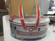 Vintage Oval Metal Lunch Pail Carry Bucket With Train On It Complete With Insert