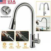 Kitchen Faucet Sink Pull Out Down Sprayer Swivel Spout Brushed Nickel Mixer Tap