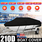 17-19 20-22 Ft Waterproof Heavy Duty Boat Cover Fishing V-hull Tri-hull Runabout