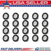 20pc 2 Round Led Marker Lights 9led Reflector Clear/amber Kits Grommet/pigtail