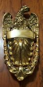 Solid Brass Vintage Eagle Door Knocker Blank Engraving Space Well Made Heavy