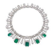 Five Rectangular-shaped 26.65ct Green Emerald With White Cz Choker Fine Necklace