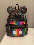 Rainbow Loungefly Mini Backpack Disney Multicolor Sequin-pride Month-rare-mickey