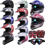 Dot Youth And Kids Adult Motorcycle Full Face Helmet Motocross/goggles+gloves+mask