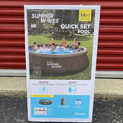 Summer Waves 14ft X 36in Wicker Print Quick Set Inflatable Pool With Filter Pump