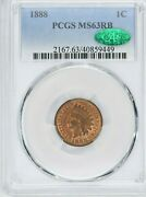 1888 1c Indian Head Cent Pcgs Ms 63 Rb Cac Witter Coin