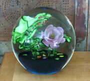 Huge Detailed Blown Glass Lily Pad Flower And Green Frogs Paperweight 7 1/2 Tall