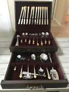 Oneida Golden Damaske Rose Heirloom - Stainless And Gold 80 Piece Set With Box