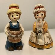 Boy With Basket Girl With Kitchen Egg Sand Timer Figurines Made In Japan