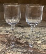 """Two 2 Mikasa Seville Crystal Heavy Optic Water Goblet Stems 8 1/8""""t Mult Avail"""