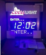 Coors Light Beer Led Light Up Sign Programmable Message Clock Bar Man Cave New