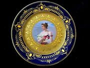 Antique Royal Vienna Hand Painted Porcelain Plate Portrait Of Lady Signed Wagner