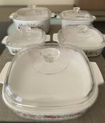 Vtg Corning Ware Spice Of Life 10 Pieces / 5 Sets Cookware Bakeware With Lids
