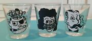 Vintage 3d Roving Eye Shot Glasses Set Of 3 With Quotes Man Woman