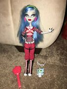 Monster High Doll, Ghoulia Yelps, Brush, Pet Hoot, Missing Purse And Stand,