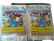 2 X Vintage 1980s Farm Yard Animals All Wood By Playgroup - New In Package