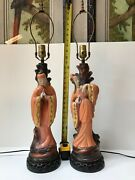 Rare Pair Of Vintage Mid Century 1940s/50s Chalkware Lamps Asian Figurines