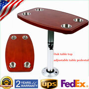 Lacquered Table Pedestal Stand+ Oak Table Top With 4 Cup Holders For Rv Boat Us