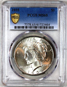 1935-p Ms65 Pcgs Peace Silver Dollar Premium Quality Superb Eye-appeal