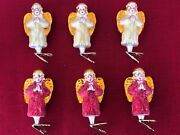 Rare Retired Christopher Radko Gilded Wings Group Of 6 Clip On Ornaments