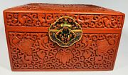Antique 1920s Chinese Carved Cinnabar Jewelry Box