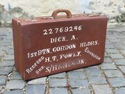 1940s Vintage Suitcase With Painted Scottish Regiment Military Id Ww2