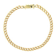 Antique Victorian Solid 9k Rosy Yellow Gold 7.75 Cuban Curb Link Chain Bracelet