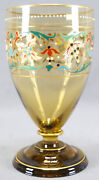 Theresienthal Art Nouveau Floral Enamel Hand Blown Amber Crystal Water Goblet