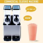 2 X 3.2 Gal Commercial Slushie Maker Frozen Drink And Soda Machine Pc Tanks