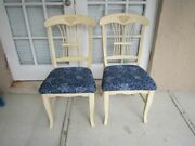 Ethan Allen Style Natural Wood Side Chair Upholstered Blue Seat Set Of 2
