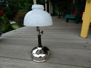 1920's Akron Lamp Co Gas Table Lamp Lantern W/milk Glass Shade Excellent One
