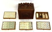 Antique Mah Jong Mahjong Set With Carved Carrying Case With Foo Dogs Handle