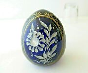 Faberge Egg Cobalt Blue Crystal Glass Cut Floral Gilding With Label Russian