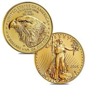 Lot Of 2 - 2021 1/4 Oz Gold American Eagle 10 Coin Bu Type 2