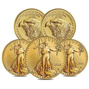 Lot Of 5 - 2021 1/10 Oz Gold American Eagle 5 Coin Bu Type 2
