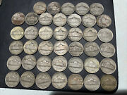 Lot Of 40 War Time Nickels, 35 Silver, 2 Face Value 1942-1945, 1 Roll In Tube
